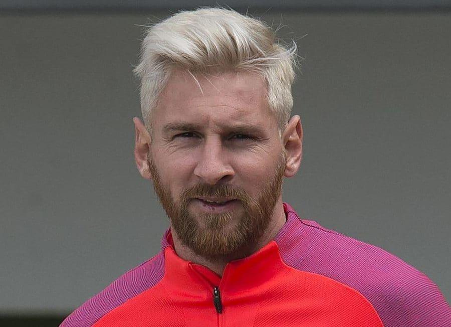 Leo messi con pelo decolorado amarillo - rubio y barba