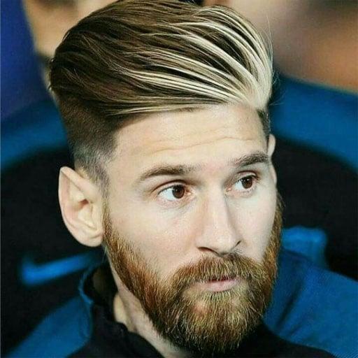 Corte super moderno de leo messi 2018 mas barba y rallitos rubios