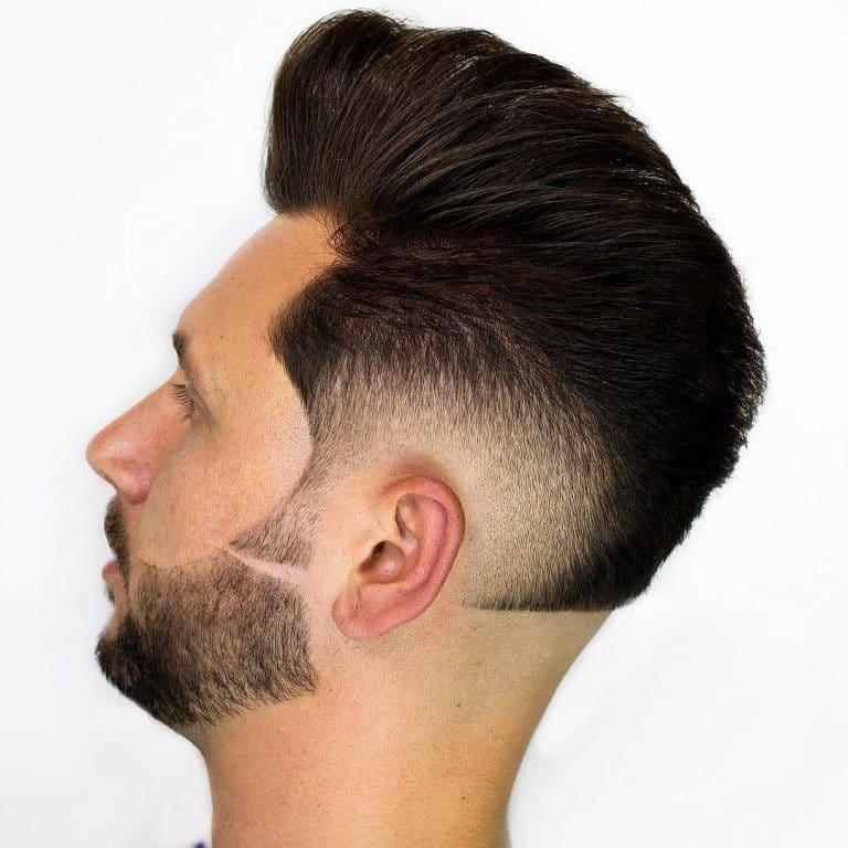 corte de barba corta con linea