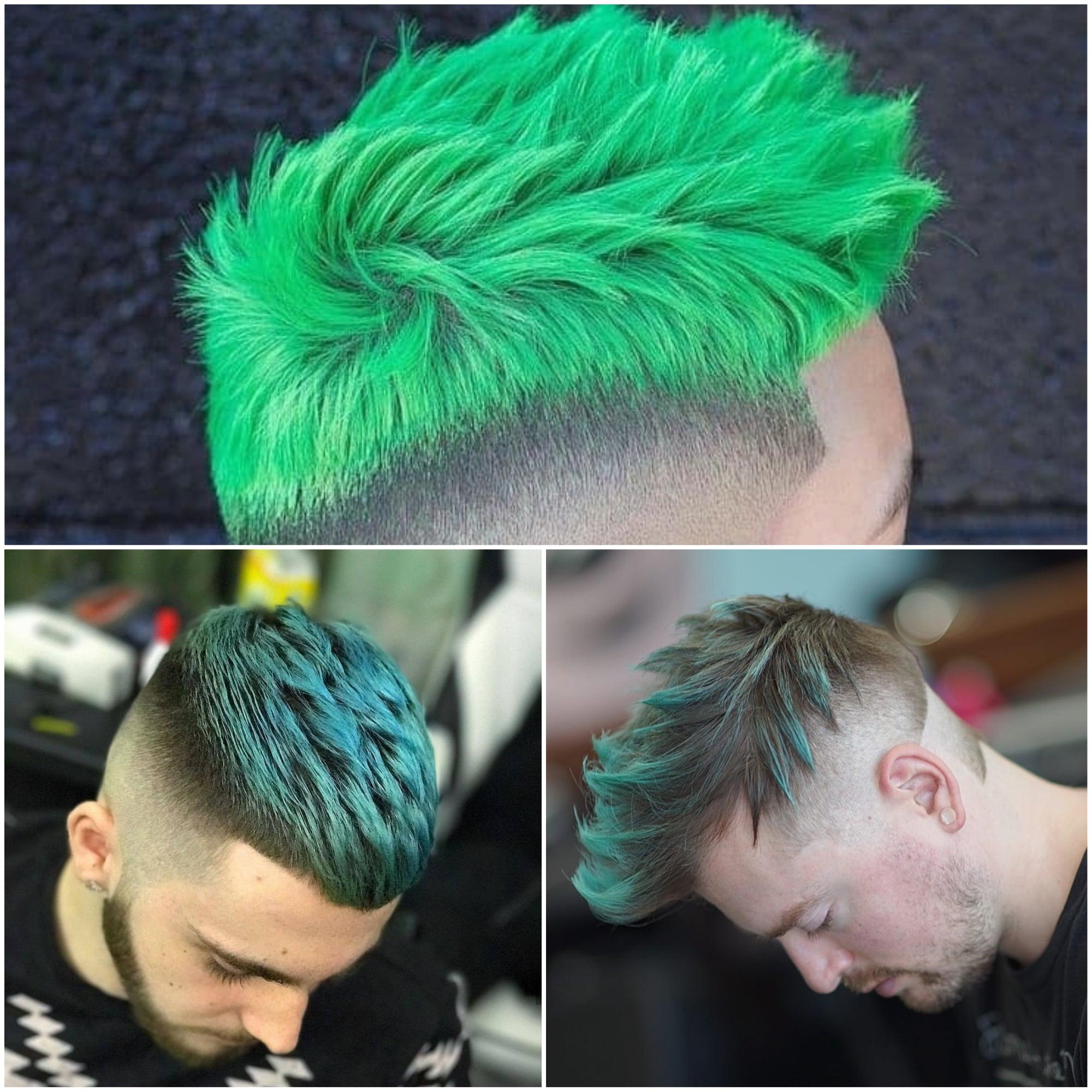 Pelo tinte verde hombre