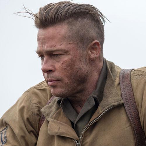 Brad-Pitt-Fury corte de cabello y peinado para atras