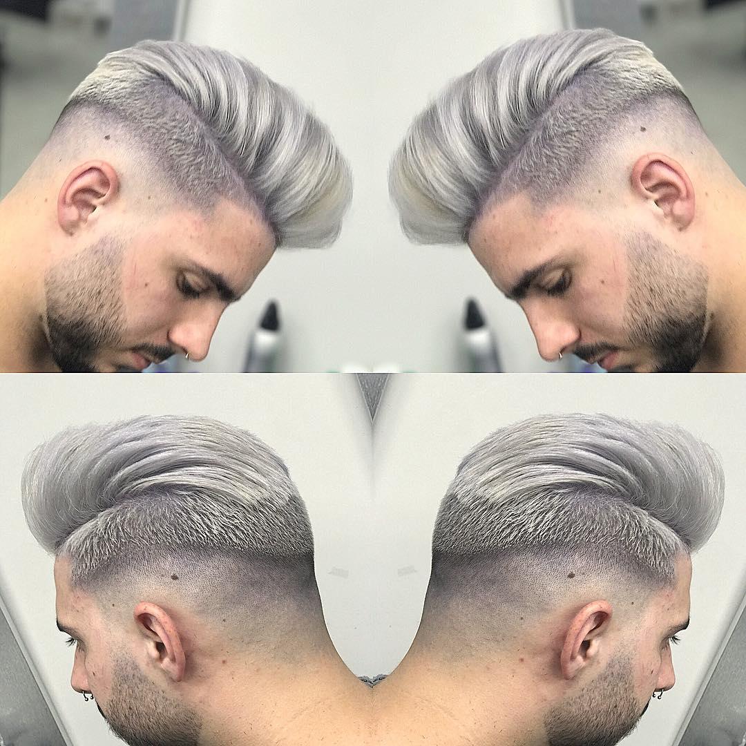 diferentes angulos de pelo pintado de gris plateado en hombre