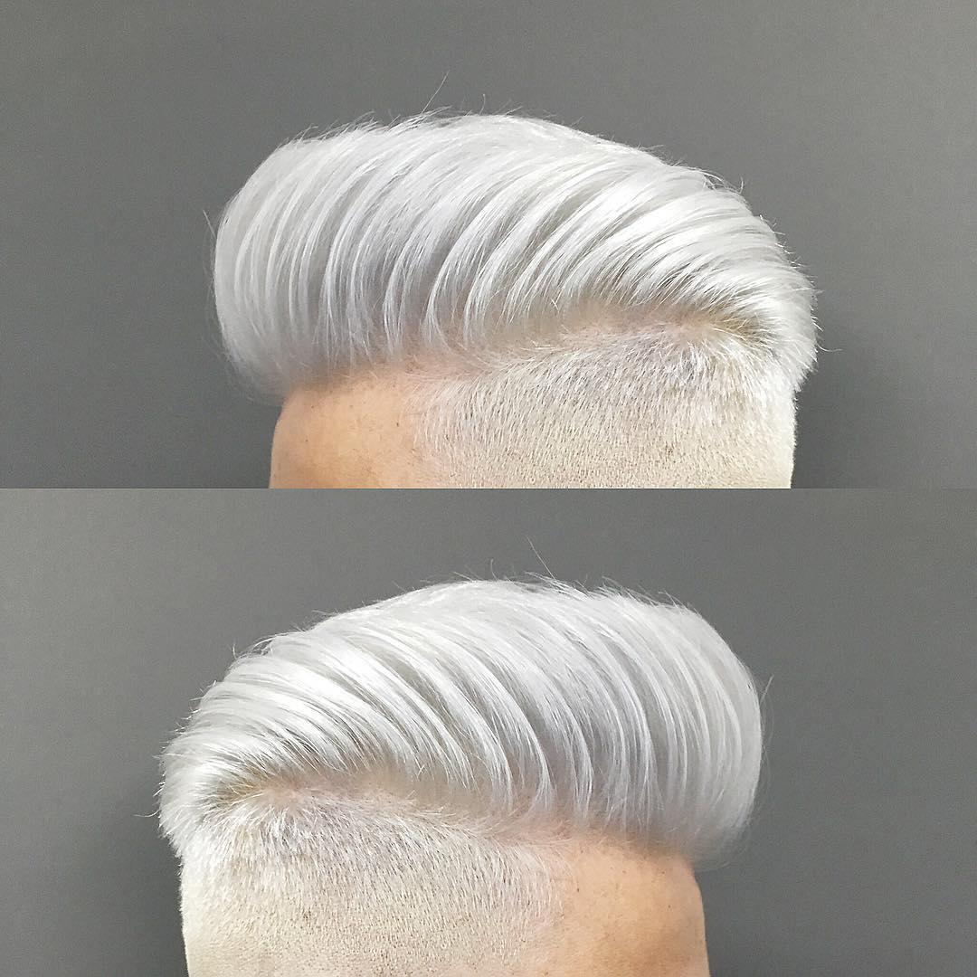 corte y estilo de pelo blanco en hombre