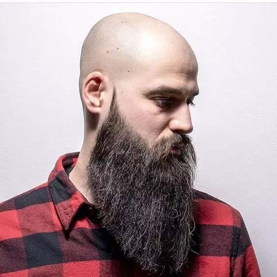 barba larga bien arreglada en hombre calvo