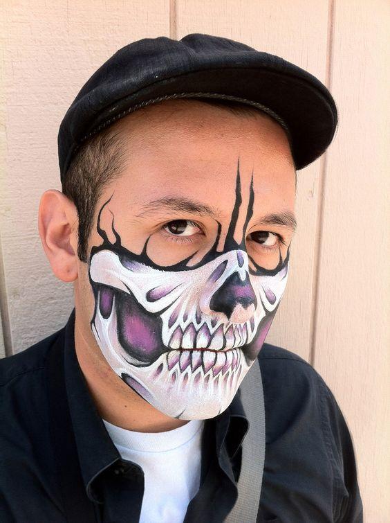 Calavera en hombre de la mitad de la Cara - Idea para Halloween