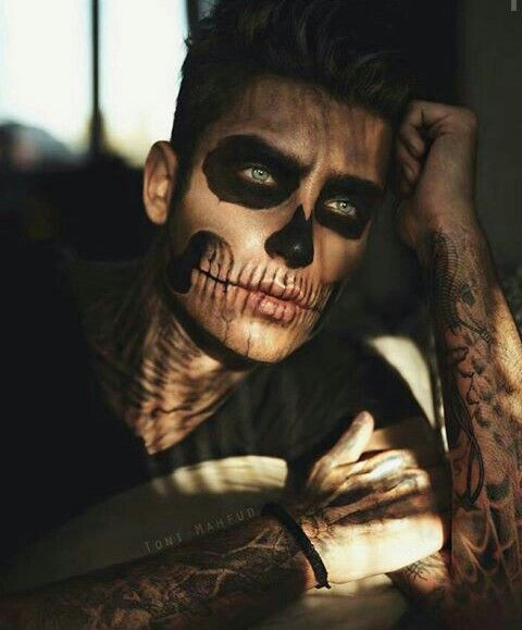 Dia de los Muertos Maquillaje en Hombres de Esqueleto