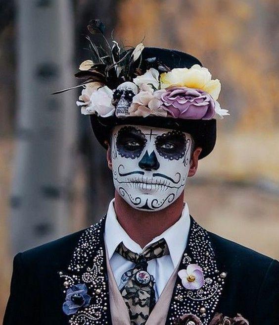 Idea para disfras y Maquillaje para hombre de Calavera y Flores