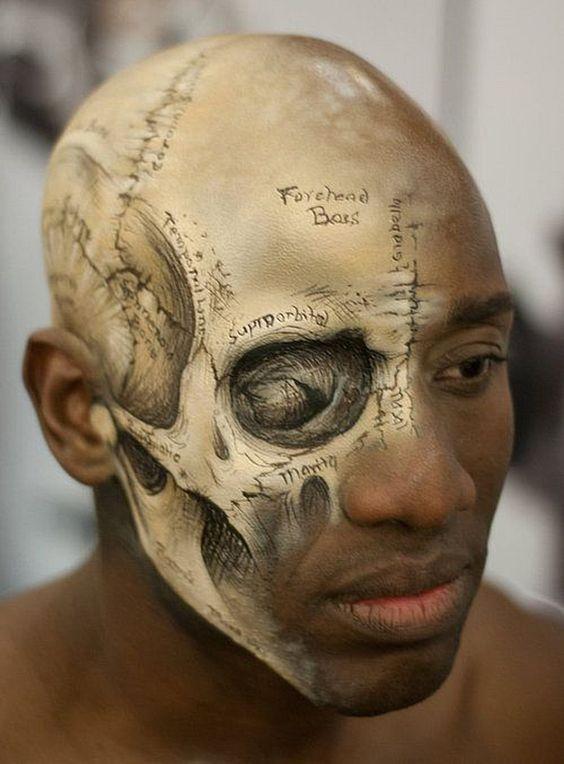 Imagen de Maquillaje en Hombres Calavera Mitad de la cara