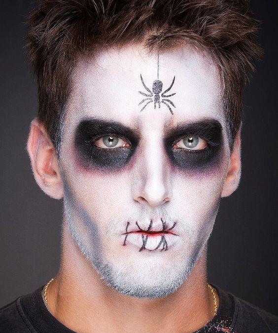 Increible Maquillaje de Halloween para Hombre con araña