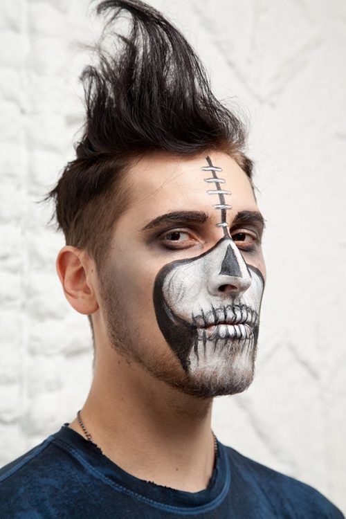 Maquillaje Media cara en Hombre para Halloween