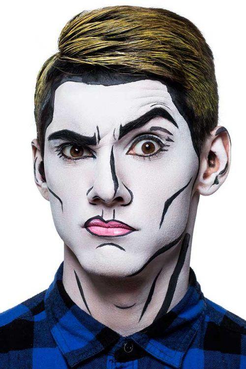 Maquillaje en Hombre para halloween Dia de Los Muertos