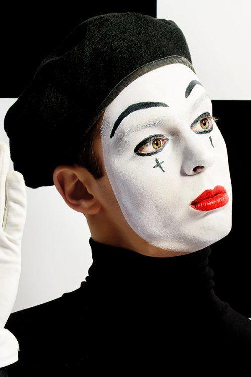 Mimica Cara blanca Maquillaje Halloween Hombre