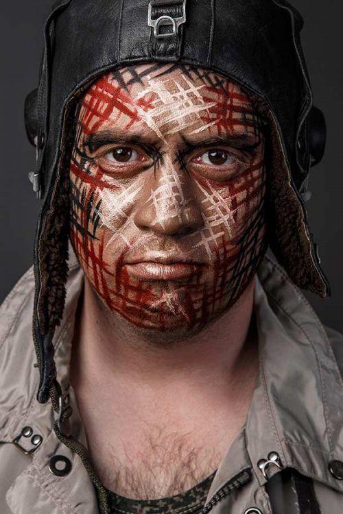 Mquillaje para Halloween dia de los Muertos - Hombre de Militar