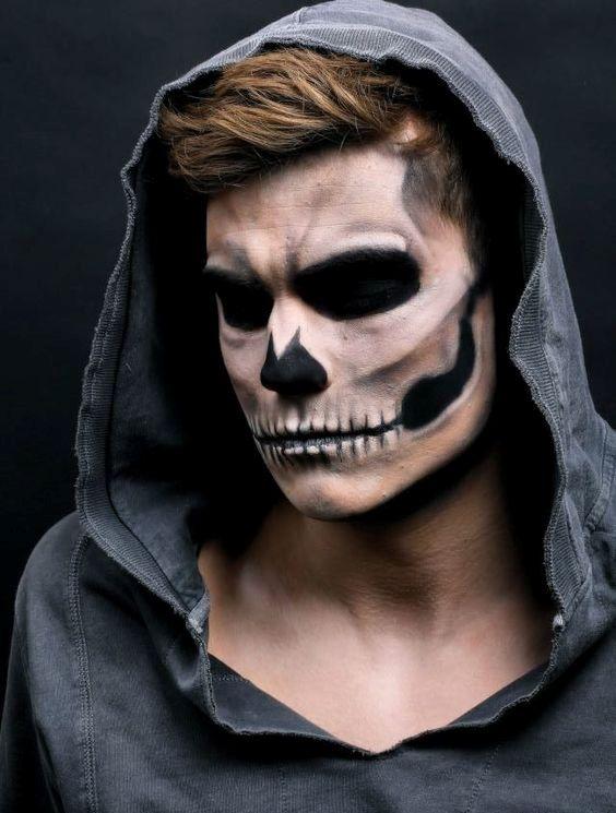 Natural maquillaje para hombre de Calavera - Halloween