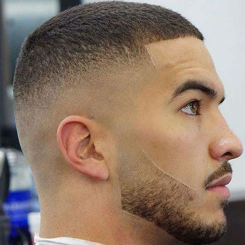 Corte de pelo rapado con corte de barba fina y degradado a los lados